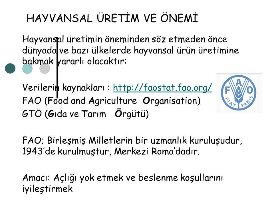 HAYVANSAL ÜRETİM VE ÖNEMİ Hayvansal üretimin öneminden söz etmeden önce dünyada ve bazı ülkelerde hayvansal ürün üretimine bakmak yararlı olacaktır: V