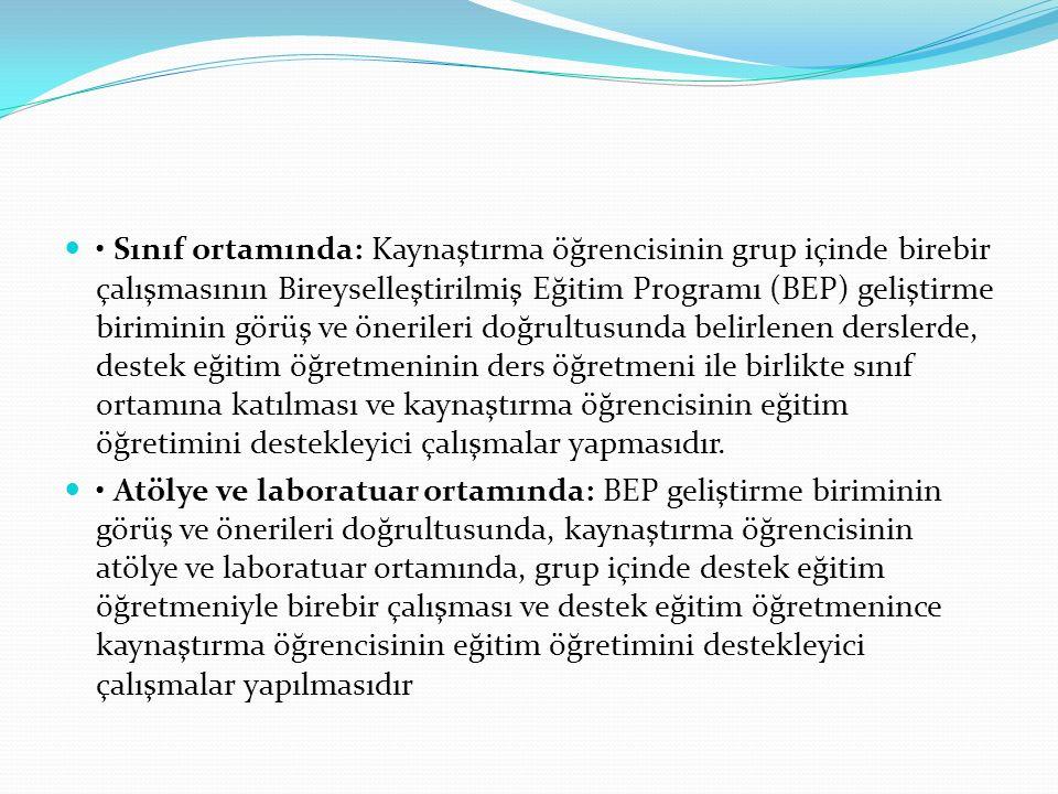 Sınıf ortamında: Kaynaştırma öğrencisinin grup içinde birebir çalışmasının Bireyselleştirilmiş Eğitim Programı (BEP) geliştirme biriminin görüş ve öne