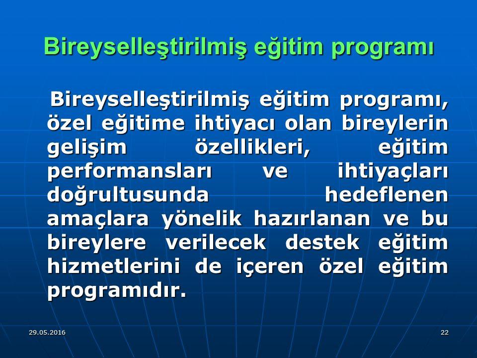 29.05.201622 Bireyselleştirilmiş eğitim programı Bireyselleştirilmiş eğitim programı, özel eğitime ihtiyacı olan bireylerin gelişim özellikleri, eğiti