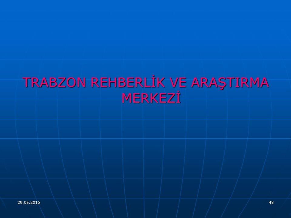 TRABZON REHBERLİK VE ARAŞTIRMA MERKEZİ 29.05.201648