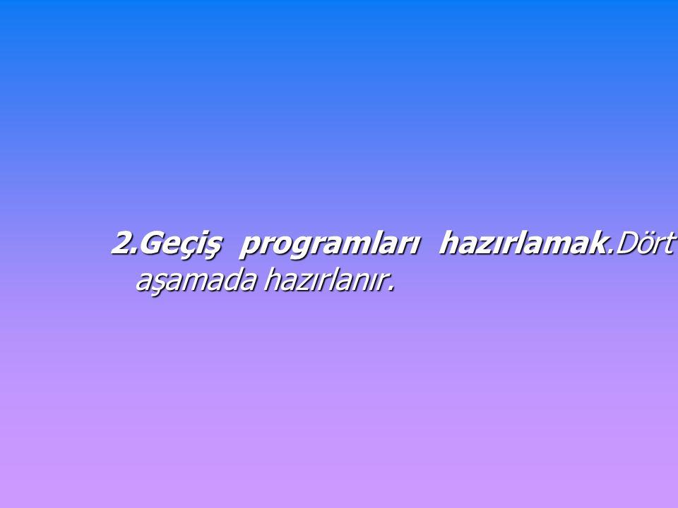 2.Geçiş programları hazırlamak.Dört aşamada hazırlanır.