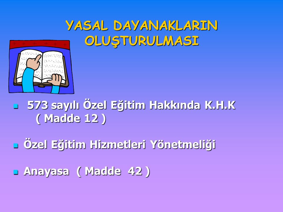 YASAL DAYANAKLARIN OLUŞTURULMASI 573 sayılı Özel Eğitim Hakkında K.H.K 573 sayılı Özel Eğitim Hakkında K.H.K ( Madde 12 ) ( Madde 12 ) Özel Eğitim Hizmetleri Yönetmeliği Özel Eğitim Hizmetleri Yönetmeliği Anayasa ( Madde 42 ) Anayasa ( Madde 42 )