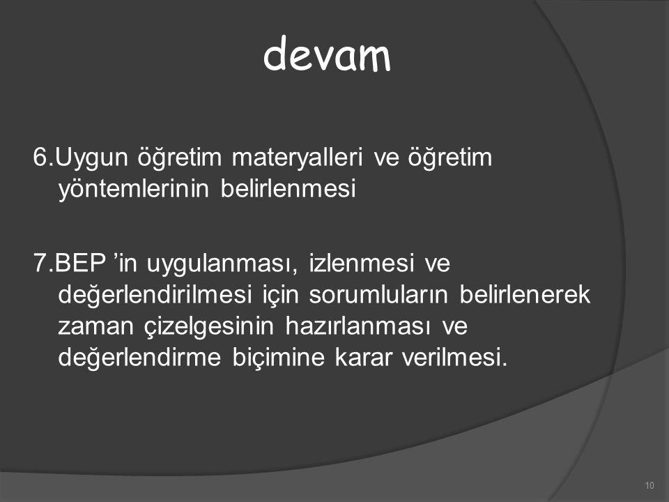10 6.Uygun öğretim materyalleri ve öğretim yöntemlerinin belirlenmesi 7.BEP 'in uygulanması, izlenmesi ve değerlendirilmesi için sorumluların belirlen