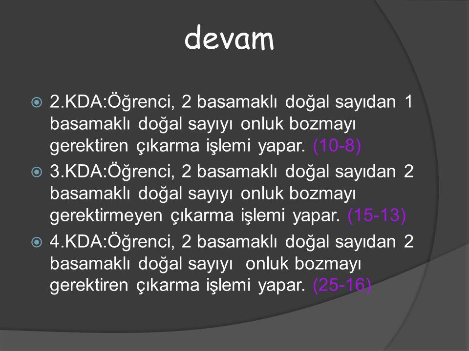  2.KDA:Öğrenci, 2 basamaklı doğal sayıdan 1 basamaklı doğal sayıyı onluk bozmayı gerektiren çıkarma işlemi yapar. (10-8)  3.KDA:Öğrenci, 2 basamaklı