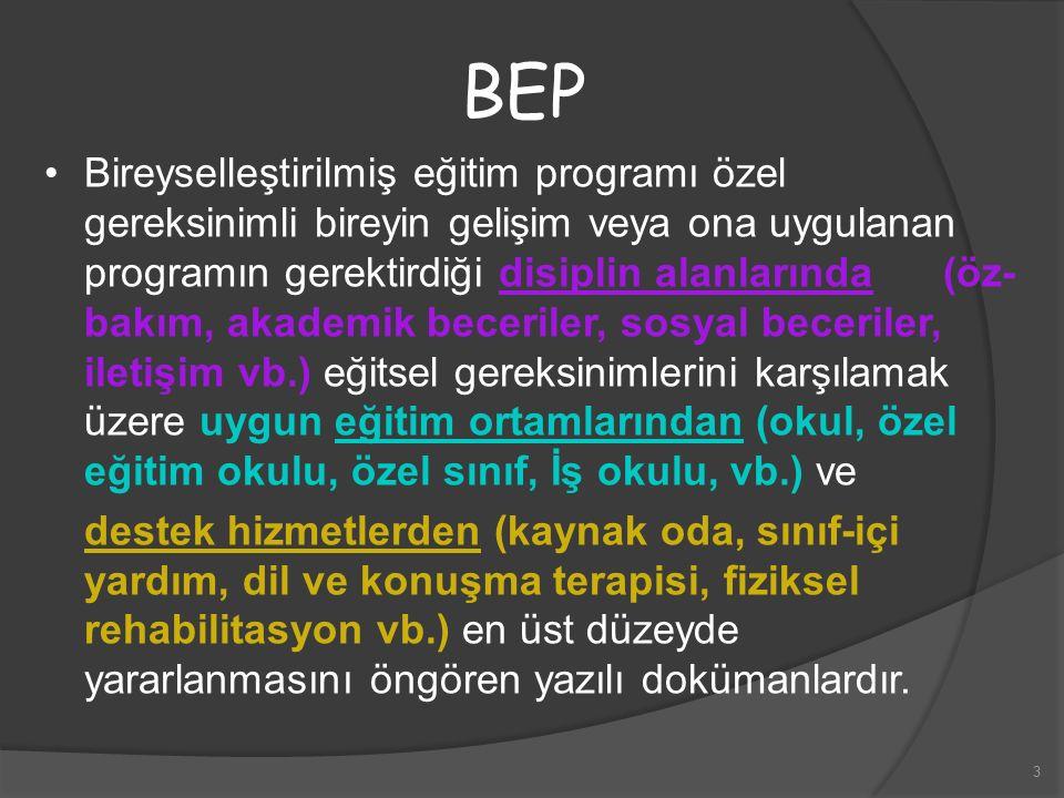3 BEP Bireyselleştirilmiş eğitim programı özel gereksinimli bireyin gelişim veya ona uygulanan programın gerektirdiği disiplin alanlarında (öz- bakım,
