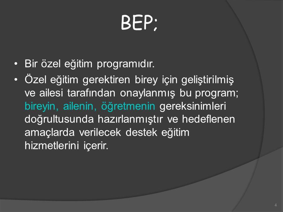 4 BEP; Bir özel eğitim programıdır. Özel eğitim gerektiren birey için geliştirilmiş ve ailesi tarafından onaylanmış bu program; bireyin, ailenin, öğre