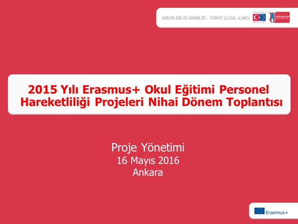 2015 Yılı Erasmus+ Okul Eğitimi Personel Hareketliliği Projeleri Nihai Dönem Toplantısı Proje Yönetimi 16 Mayıs 2016 Ankara
