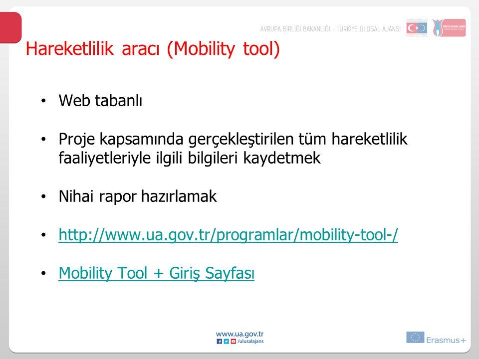 Hareketlilik aracı (Mobility tool) Web tabanlı Proje kapsamında gerçekleştirilen tüm hareketlilik faaliyetleriyle ilgili bilgileri kaydetmek Nihai rapor hazırlamak http://www.ua.gov.tr/programlar/mobility-tool-/ Mobility Tool + Giriş Sayfası
