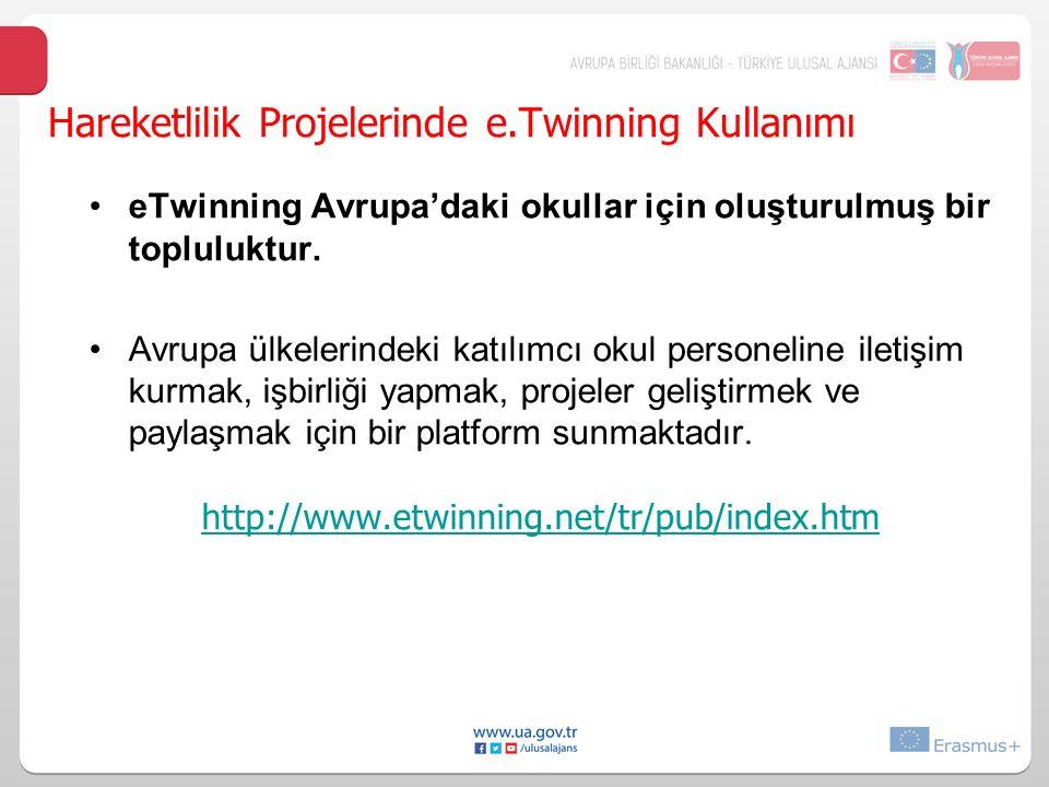 Hareketlilik Projelerinde e.Twinning Kullanımı eTwinning Avrupa'daki okullar için oluşturulmuş bir topluluktur.