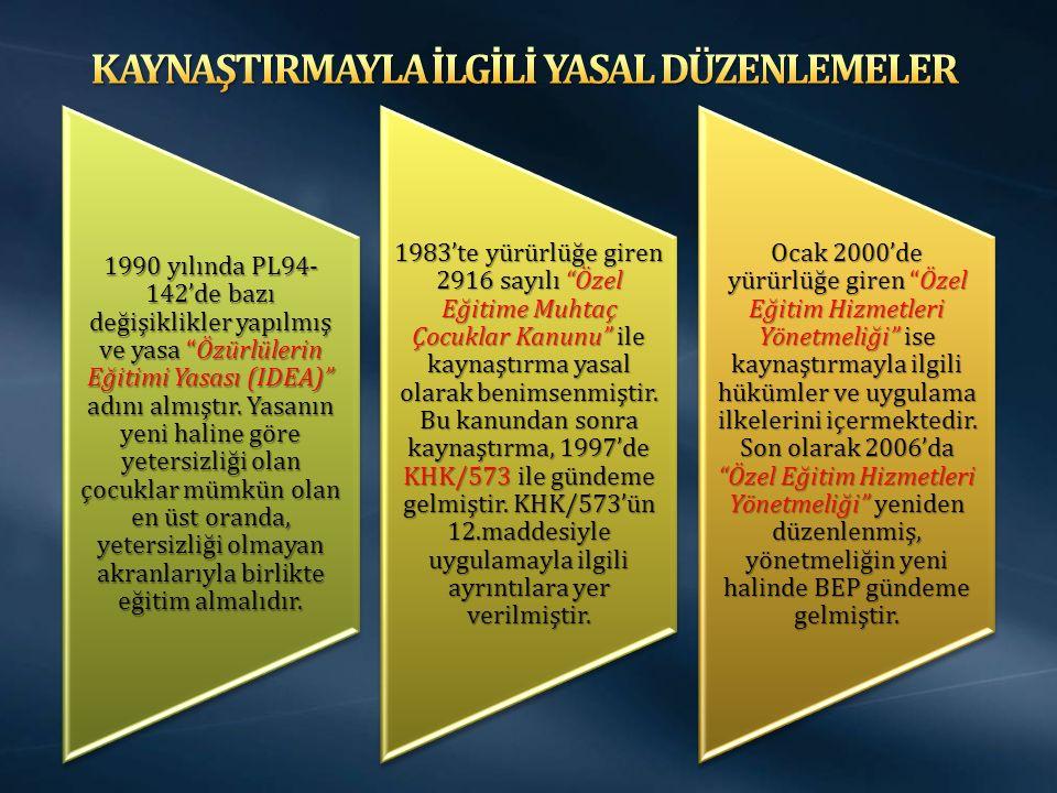 1990 yılında PL94- 142'de bazı değişiklikler yapılmış ve yasa Özürlülerin Eğitimi Yasası (IDEA) adını almıştır.