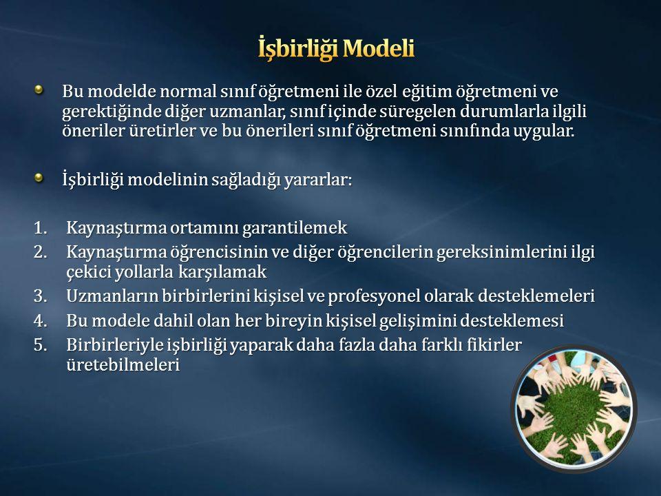 Bu modelde normal sınıf öğretmeni ile özel eğitim öğretmeni ve gerektiğinde diğer uzmanlar, sınıf içinde süregelen durumlarla ilgili öneriler üretirler ve bu önerileri sınıf öğretmeni sınıfında uygular.