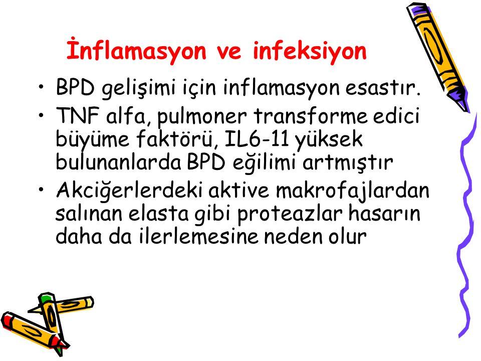 İnflamasyon ve infeksiyon BPD gelişimi için inflamasyon esastır. TNF alfa, pulmoner transforme edici büyüme faktörü, IL6-11 yüksek bulunanlarda BPD eğ
