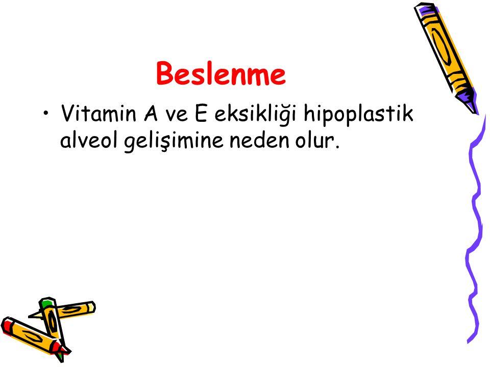 Beslenme Vitamin A ve E eksikliği hipoplastik alveol gelişimine neden olur.