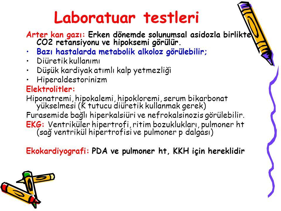 Laboratuar testleri Arter kan gazı: Erken dönemde solunumsal asidozla birlikte CO2 retansiyonu ve hipoksemi görülür. Bazı hastalarda metabolik alkoloz