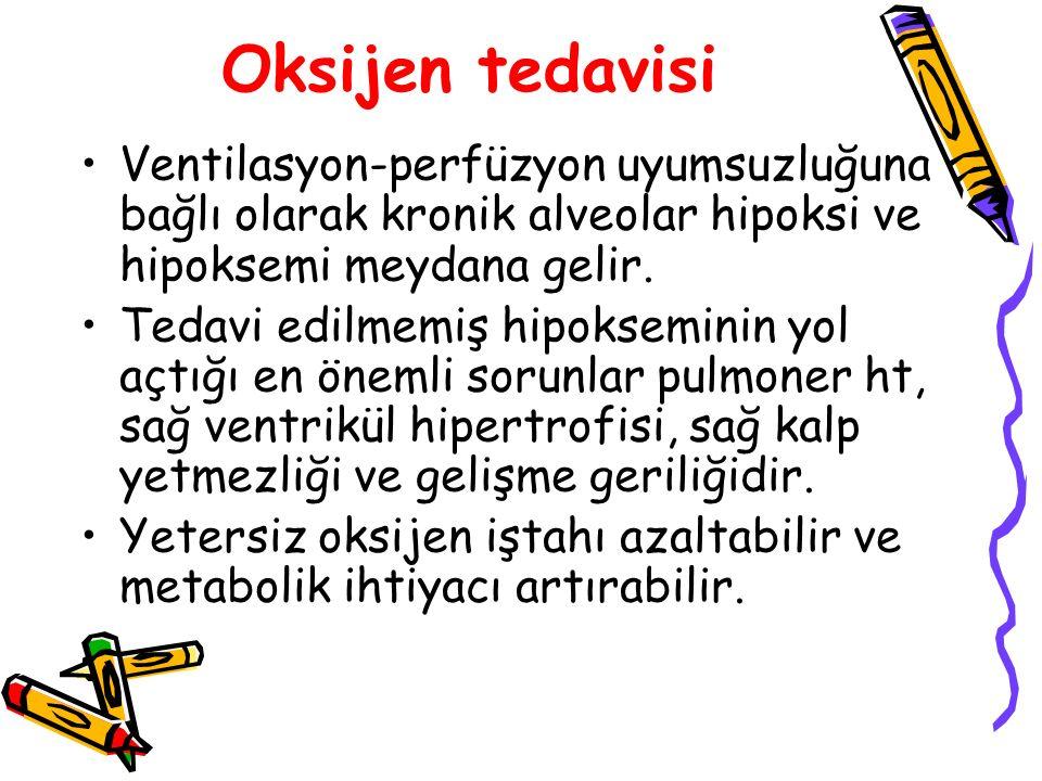 Oksijen tedavisi Ventilasyon-perfüzyon uyumsuzluğuna bağlı olarak kronik alveolar hipoksi ve hipoksemi meydana gelir.