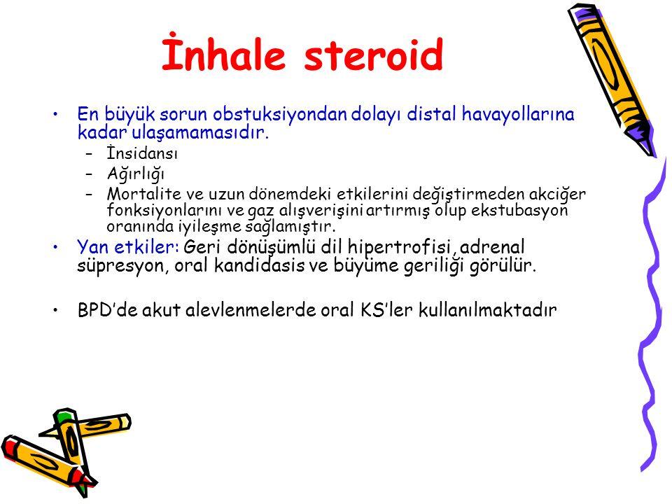 İnhale steroid En büyük sorun obstuksiyondan dolayı distal havayollarına kadar ulaşamamasıdır. –İnsidansı –Ağırlığı –Mortalite ve uzun dönemdeki etkil