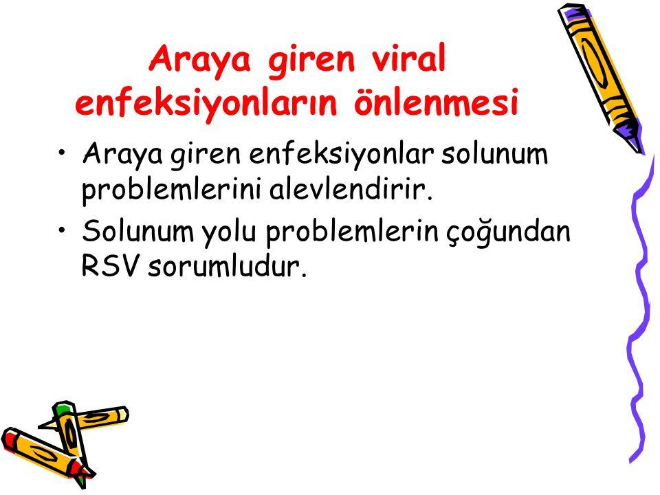 Araya giren viral enfeksiyonların önlenmesi Araya giren enfeksiyonlar solunum problemlerini alevlendirir. Solunum yolu problemlerin çoğundan RSV sorum