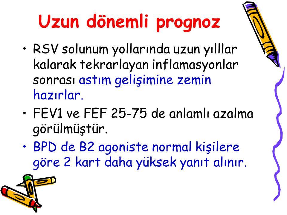 Uzun dönemli prognoz RSV solunum yollarında uzun yılllar kalarak tekrarlayan inflamasyonlar sonrası astım gelişimine zemin hazırlar. FEV1 ve FEF 25-75