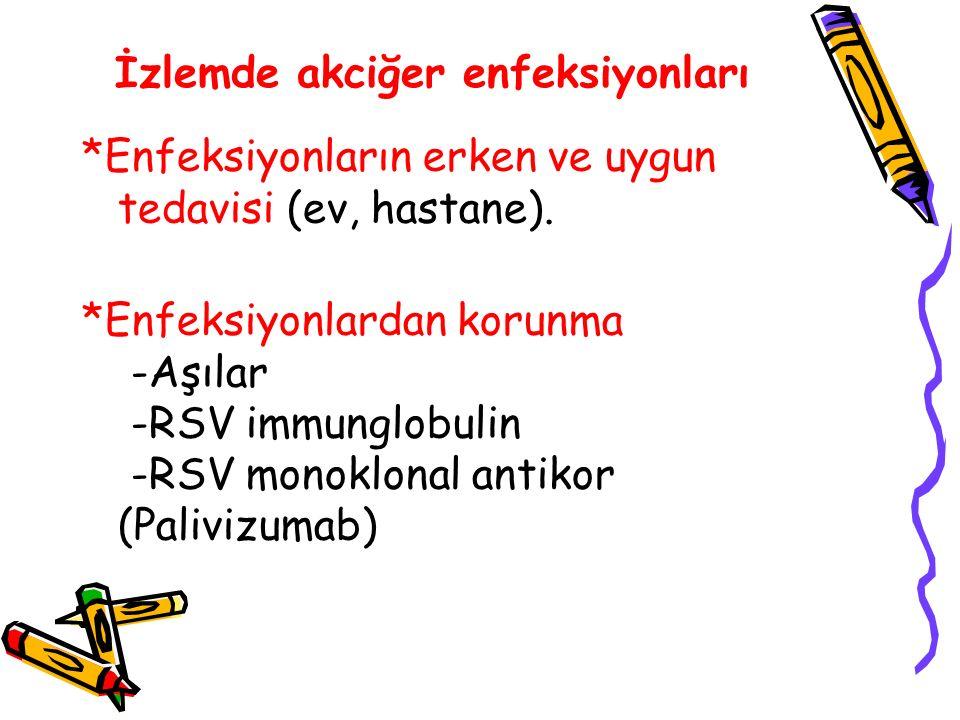 İzlemde akciğer enfeksiyonları *Enfeksiyonların erken ve uygun tedavisi (ev, hastane). *Enfeksiyonlardan korunma -Aşılar -RSV immunglobulin -RSV monok