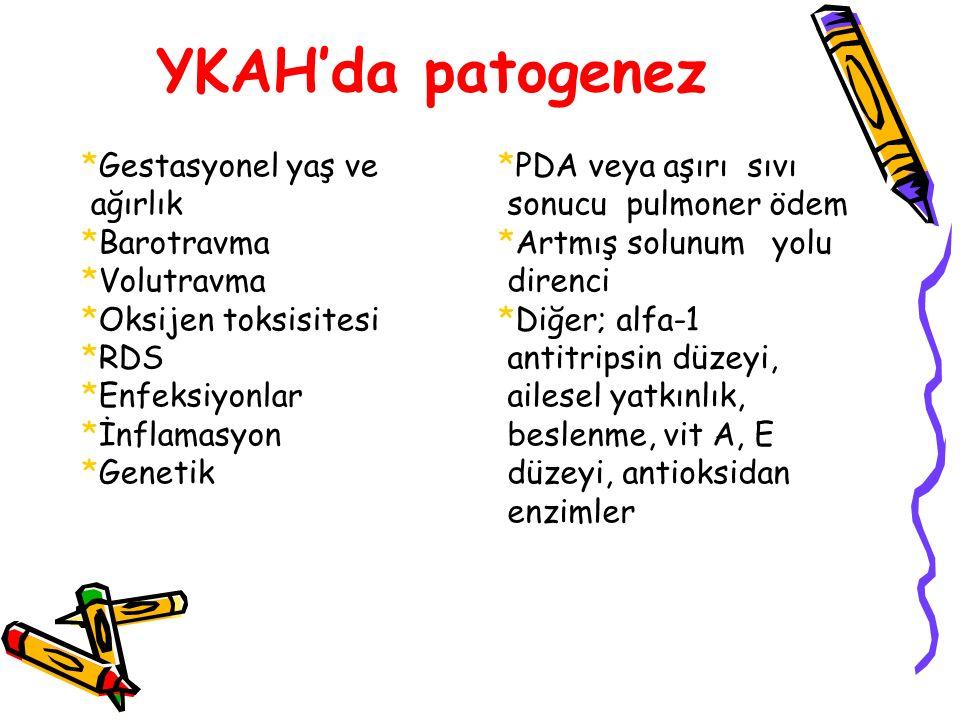 YKAH'da patogenez *Gestasyonel yaş ve ağırlık *Barotravma *Volutravma *Oksijen toksisitesi *RDS *Enfeksiyonlar *İnflamasyon *Genetik *PDA veya aşırı sıvı sonucu pulmoner ödem *Artmış solunum yolu direnci *Diğer; alfa-1 antitripsin düzeyi, ailesel yatkınlık, beslenme, vit A, E düzeyi, antioksidan enzimler