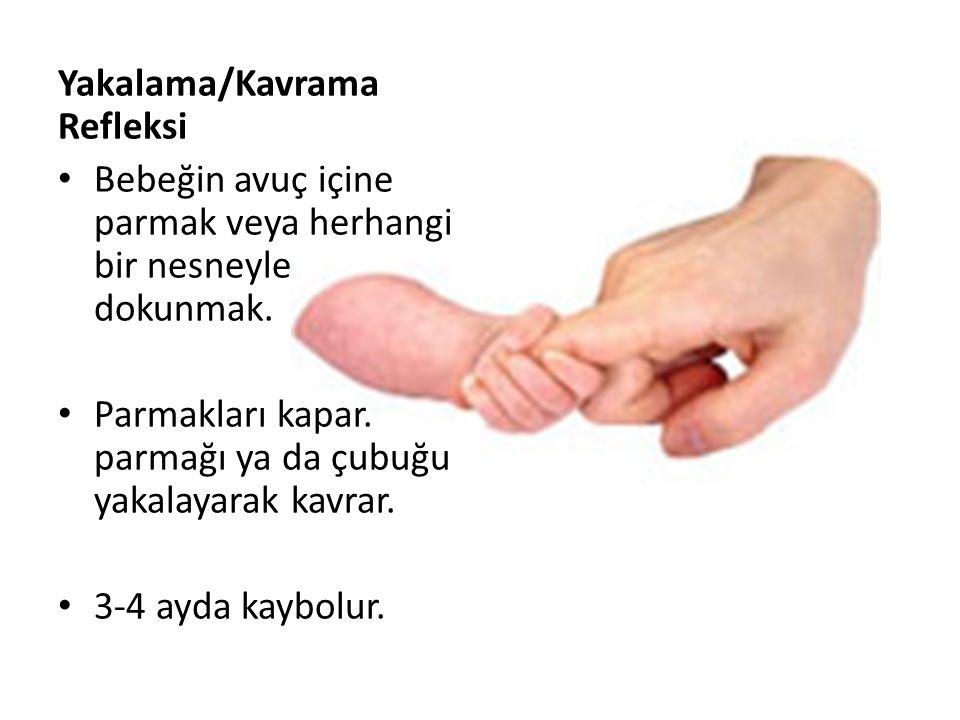 Yakalama/Kavrama Refleksi Bebeğin avuç içine parmak veya herhangi bir nesneyle dokunmak.
