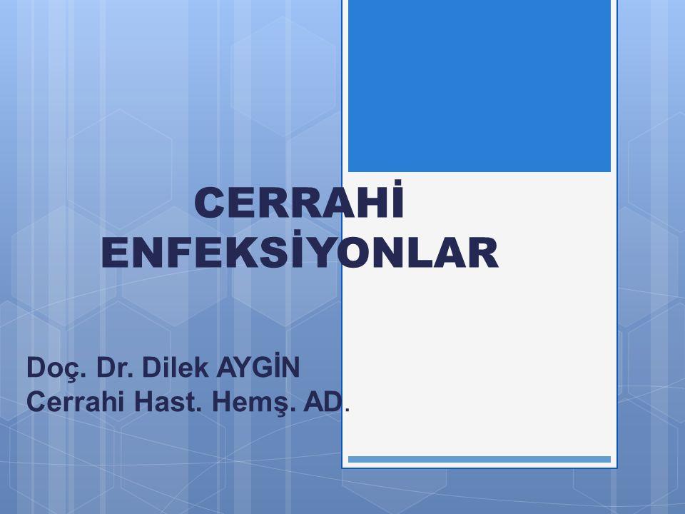 CERRAHİ ENFEKSİYONLAR Doç. Dr. Dilek AYGİN Cerrahi Hast. Hemş. AD.