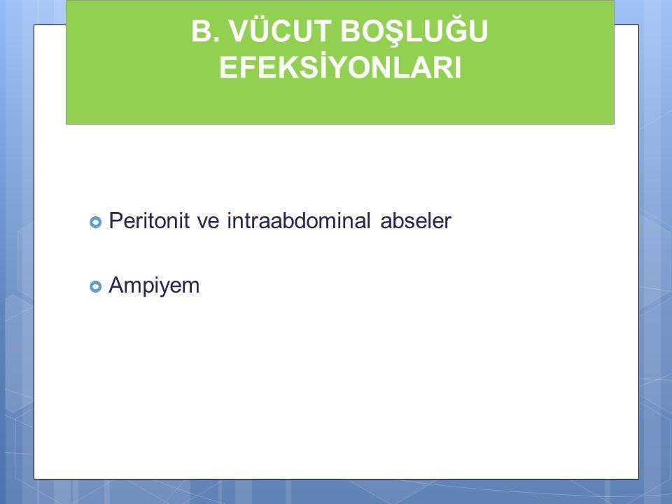 B. VÜCUT BOŞLUĞU EFEKSİYONLARI  Peritonit ve intraabdominal abseler  Ampiyem