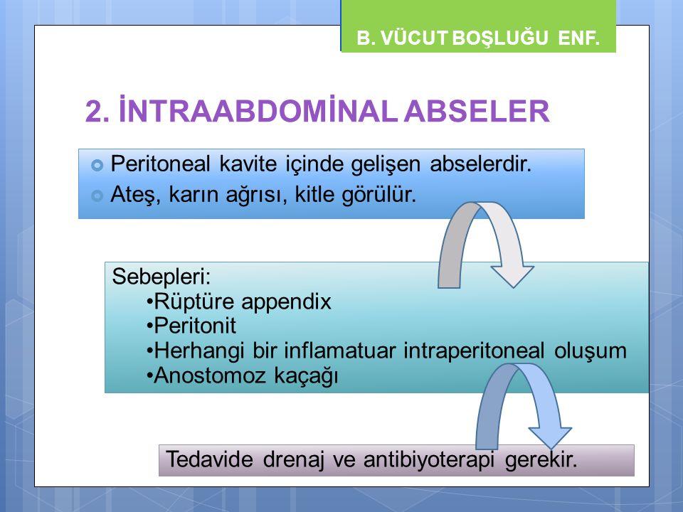 2. İNTRAABDOMİNAL ABSELER  Peritoneal kavite içinde gelişen abselerdir.  Ateş, karın ağrısı, kitle görülür. B. VÜCUT BOŞLUĞU ENF. Sebepleri: Rüptüre