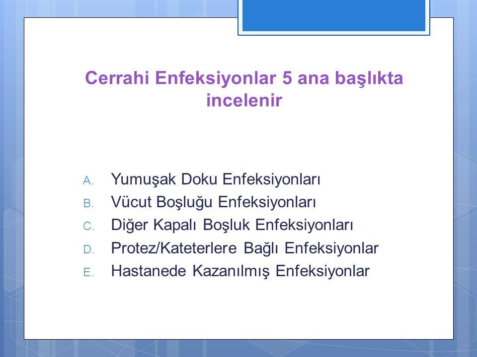 Cerrahi Enfeksiyonlar 5 ana başlıkta incelenir A. Yumuşak Doku Enfeksiyonları B. Vücut Boşluğu Enfeksiyonları C. Diğer Kapalı Boşluk Enfeksiyonları D.