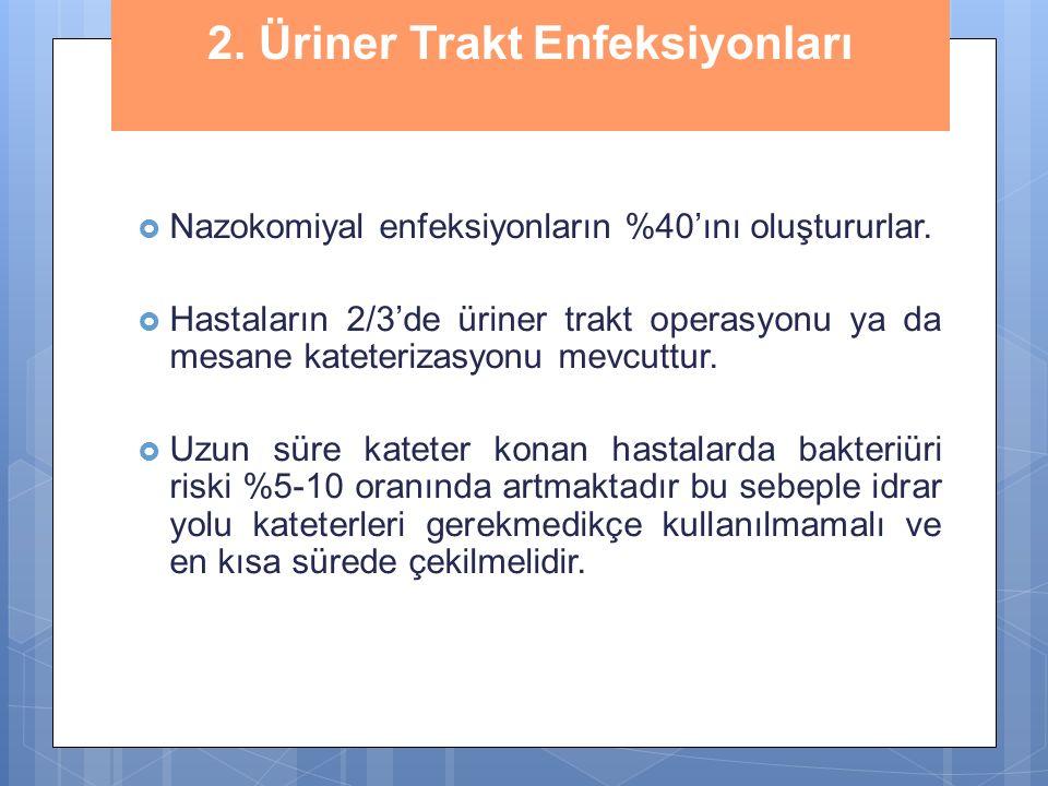 2. Üriner Trakt Enfeksiyonları  Nazokomiyal enfeksiyonların %40'ını oluştururlar.  Hastaların 2/3'de üriner trakt operasyonu ya da mesane kateteriza
