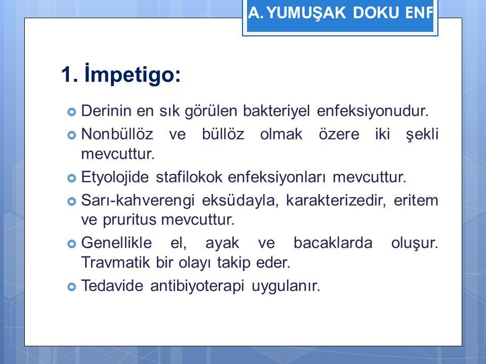 1. İmpetigo:  Derinin en sık görülen bakteriyel enfeksiyonudur.  Nonbüllöz ve büllöz olmak özere iki şekli mevcuttur.  Etyolojide stafilokok enfeks