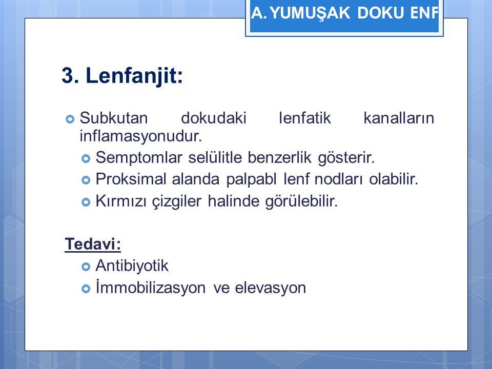 3. Lenfanjit:  Subkutan dokudaki lenfatik kanalların inflamasyonudur.  Semptomlar selülitle benzerlik gösterir.  Proksimal alanda palpabl lenf nodl