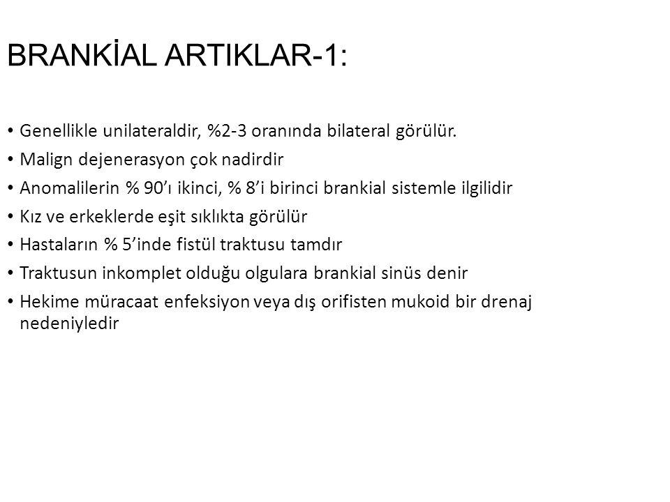 BRANKİAL ARTIKLAR-1: Genellikle unilateraldir, %2-3 oranında bilateral görülür.
