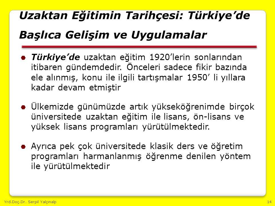 Yrd.Doç.Dr. Serpil Yalçınalp14 Uzaktan Eğitimin Tarihçesi: Türkiye'de Başlıca Gelişim ve Uygulamalar  Türkiye'de uzaktan eğitim 1920'lerin sonlarında