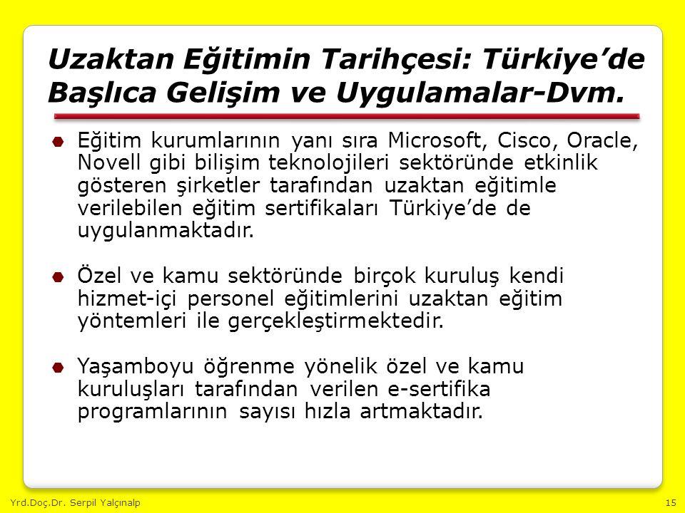 Yrd.Doç.Dr. Serpil Yalçınalp15 Uzaktan Eğitimin Tarihçesi: Türkiye'de Başlıca Gelişim ve Uygulamalar-Dvm.  Eğitim kurumlarının yanı sıra Microsoft, C