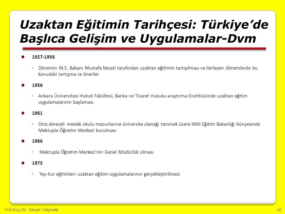 Yrd.Doç.Dr. Serpil Yalçınalp16 Uzaktan Eğitimin Tarihçesi: Türkiye'de Başlıca Gelişim ve Uygulamalar-Dvm  1927-1956 ◦ Dönemin M.E. Bakanı Mustafa Nec