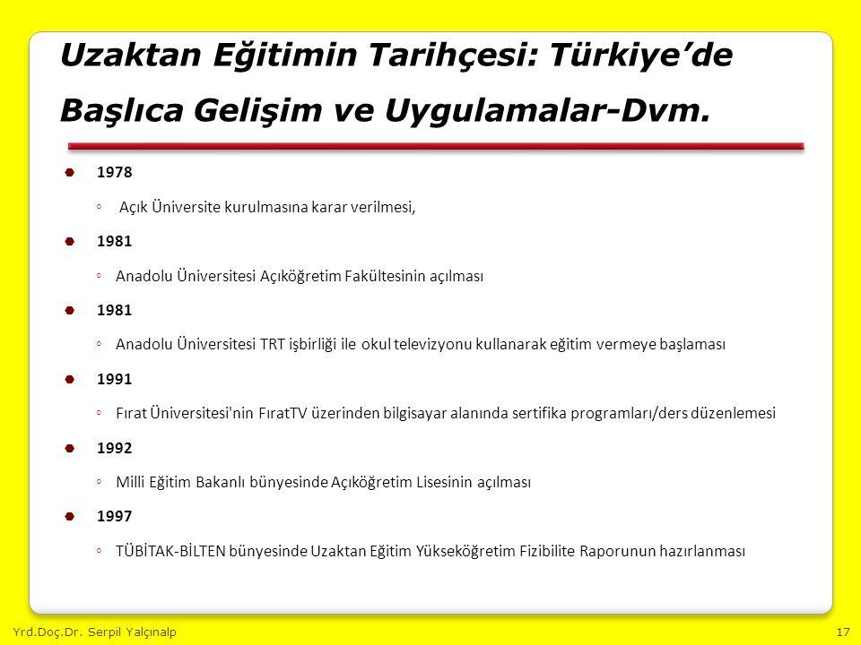 Yrd.Doç.Dr. Serpil Yalçınalp17 Uzaktan Eğitimin Tarihçesi: Türkiye'de Başlıca Gelişim ve Uygulamalar-Dvm.  1978 ◦ Açık Üniversite kurulmasına karar v