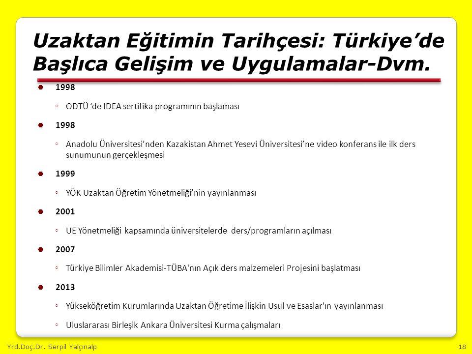 Yrd.Doç.Dr. Serpil Yalçınalp18 Uzaktan Eğitimin Tarihçesi: Türkiye'de Başlıca Gelişim ve Uygulamalar-Dvm.  1998 ◦ ODTÜ 'de IDEA sertifika programının