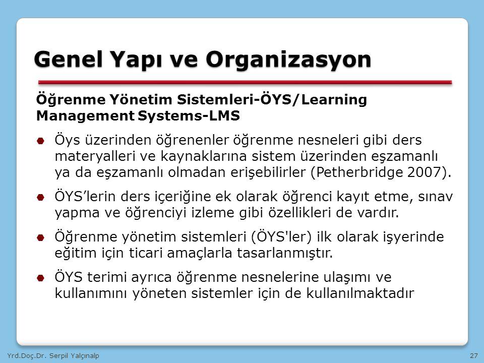 Yrd.Doç.Dr. Serpil Yalçınalp27 Öğrenme Yönetim Sistemleri-ÖYS/Learning Management Systems-LMS  Öys üzerinden öğrenenler öğrenme nesneleri gibi ders m