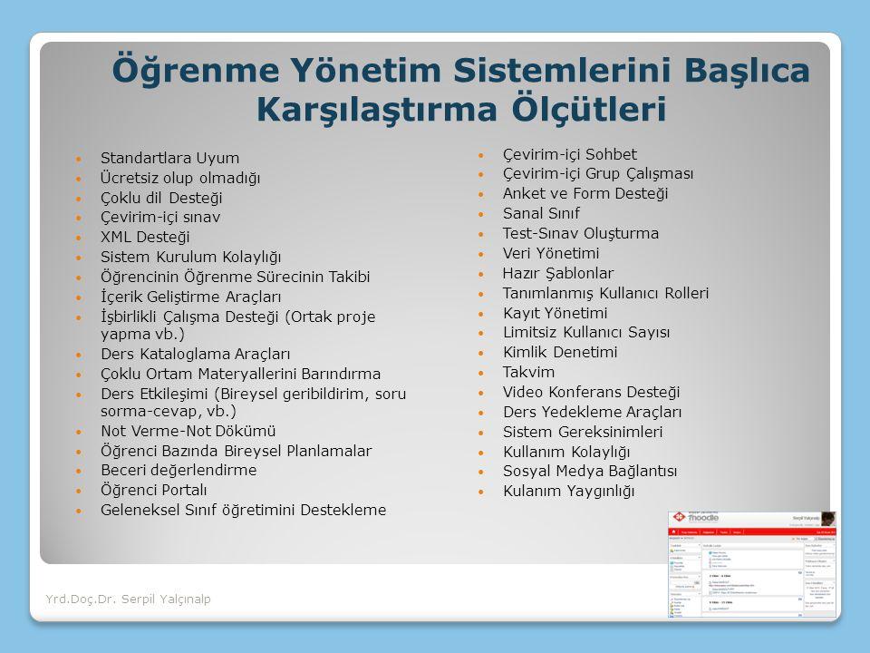 Öğrenme Yönetim Sistemlerini Başlıca Karşılaştırma Ölçütleri Standartlara Uyum Ücretsiz olup olmadığı Çoklu dil Desteği Çevirim-içi sınav XML Desteği