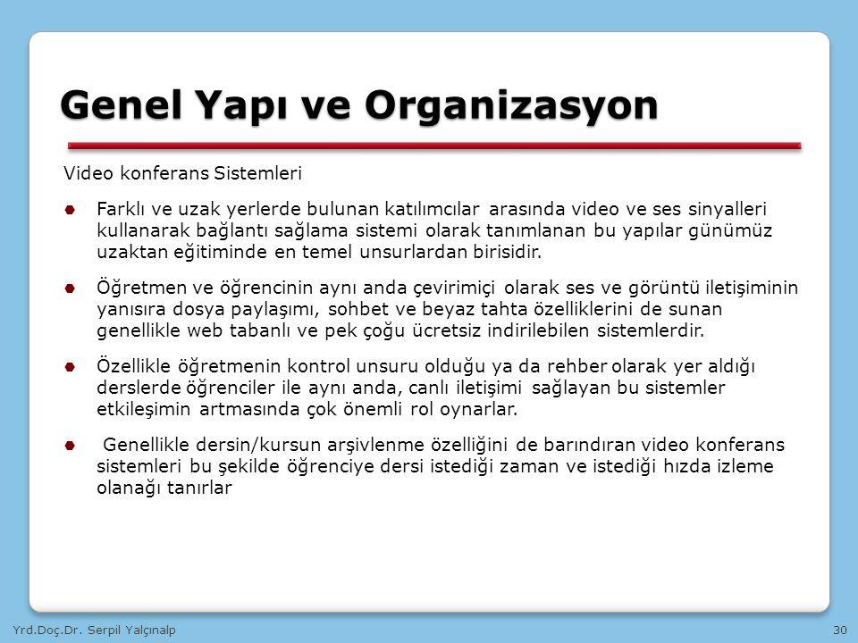 Yrd.Doç.Dr. Serpil Yalçınalp30 Video konferans Sistemleri  Farklı ve uzak yerlerde bulunan katılımcılar arasında video ve ses sinyalleri kullanarak b