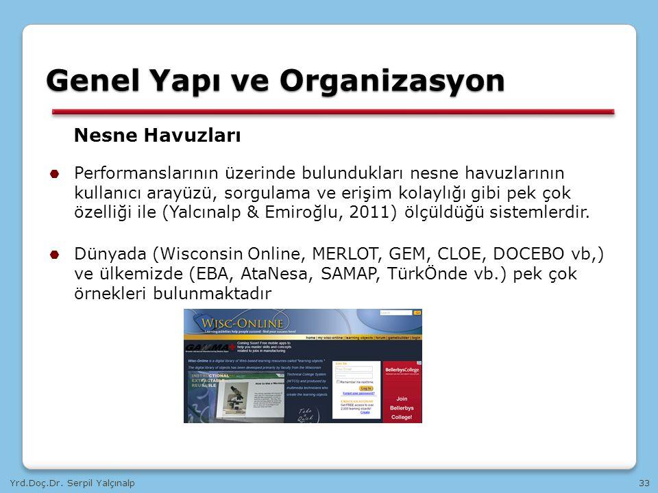 Yrd.Doç.Dr. Serpil Yalçınalp33 Nesne Havuzları  Performanslarının üzerinde bulundukları nesne havuzlarının kullanıcı arayüzü, sorgulama ve erişim kol