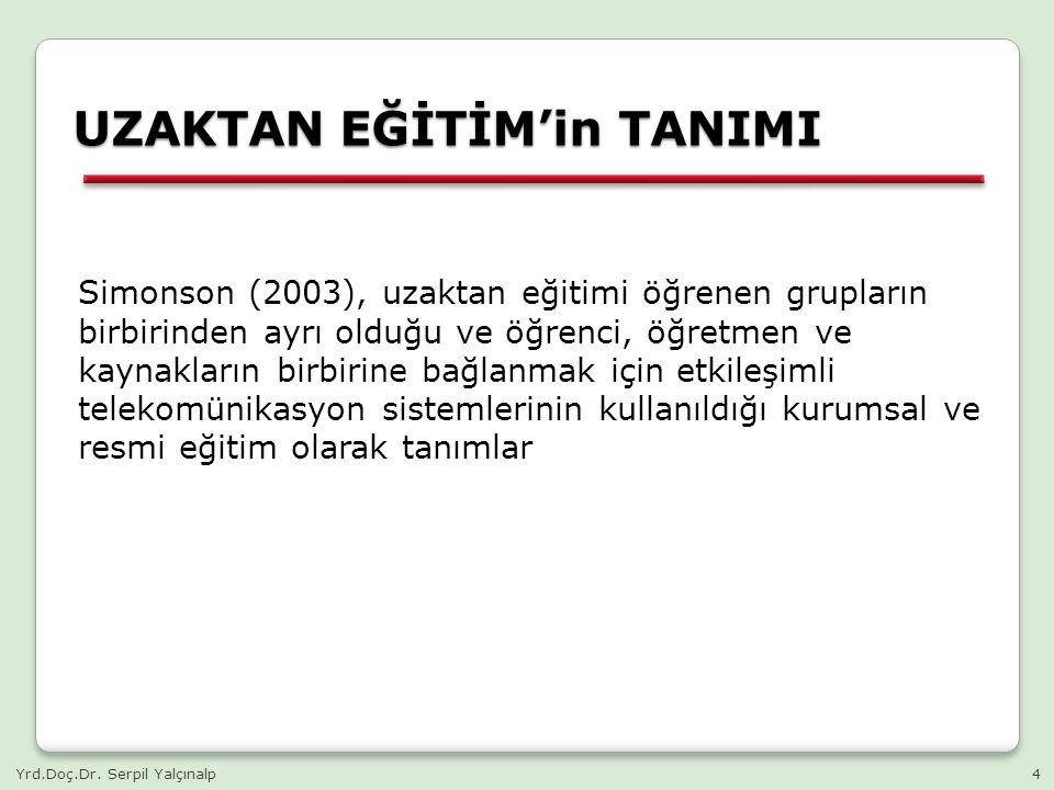 UZAKTAN EĞİTİM'in TANIMI- Simpson (2003) KURUM AYRI YERLER (Öğretmen ve Öğrenci) ETKİLEŞİMLİ TELEKOMÜNİKASYON PAYLAŞIM (veri ve öğretim etkinlikler, veri) Yrd.Doç.Dr.