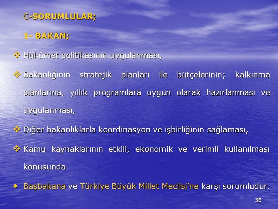 36 C-SORUMLULAR; 1- BAKAN;  Hükümet politikasının uygulanması,  Bakanlığının stratejik planları ile bütçelerinin; kalkınma planlarına, yıllık programlara uygun olarak hazırlanması ve uygulanması,  Diğer bakanlıklarla koordinasyon ve işbirliğinin sağlaması,  Kamu kaynaklarının etkili, ekonomik ve verimli kullanılması konusunda Başbakana ve Türkiye Büyük Millet Meclisi'ne karşı sorumludur.