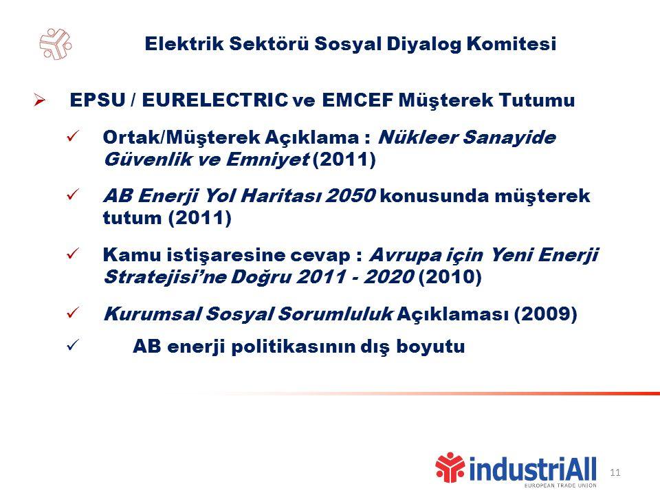 11 Elektrik Sektörü Sosyal Diyalog Komitesi  EPSU / EURELECTRIC ve EMCEF Müşterek Tutumu Ortak/Müşterek Açıklama : Nükleer Sanayide Güvenlik ve Emniyet (2011) AB Enerji Yol Haritası 2050 konusunda müşterek tutum (2011) Kamu istişaresine cevap : Avrupa için Yeni Enerji Stratejisi'ne Doğru 2011 - 2020 (2010) Kurumsal Sosyal Sorumluluk Açıklaması (2009) AB enerji politikasının dış boyutu