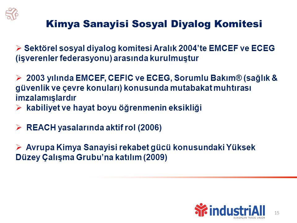 15 Kimya Sanayisi Sosyal Diyalog Komitesi  Sektörel sosyal diyalog komitesi Aralık 2004'te EMCEF ve ECEG (işverenler federasyonu) arasında kurulmuştur  2003 yılında EMCEF, CEFIC ve ECEG, Sorumlu Bakım® (sağlık & güvenlik ve çevre konuları) konusunda mutabakat muhtırası imzalamışlardır  kabiliyet ve hayat boyu öğrenmenin eksikliği  REACH yasalarında aktif rol (2006)  Avrupa Kimya Sanayisi rekabet gücü konusundaki Yüksek Düzey Çalışma Grubu'na katılım (2009)