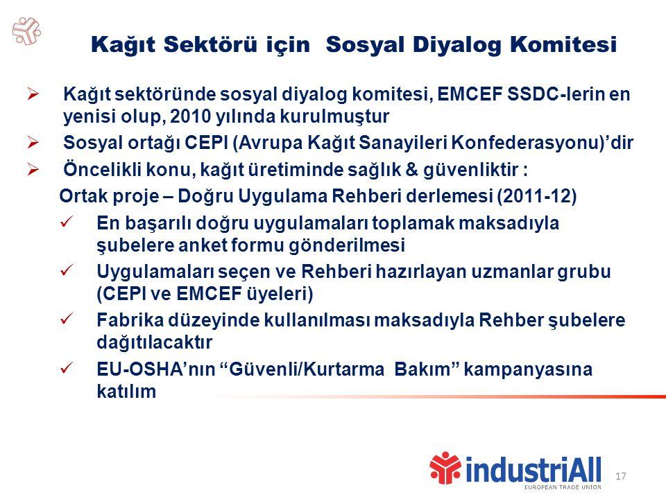 17 Kağıt Sektörü için Sosyal Diyalog Komitesi  Kağıt sektöründe sosyal diyalog komitesi, EMCEF SSDC-lerin en yenisi olup, 2010 yılında kurulmuştur  Sosyal ortağı CEPI (Avrupa Kağıt Sanayileri Konfederasyonu)'dir  Öncelikli konu, kağıt üretiminde sağlık & güvenliktir : Ortak proje – Doğru Uygulama Rehberi derlemesi (2011-12) En başarılı doğru uygulamaları toplamak maksadıyla şubelere anket formu gönderilmesi Uygulamaları seçen ve Rehberi hazırlayan uzmanlar grubu (CEPI ve EMCEF üyeleri) Fabrika düzeyinde kullanılması maksadıyla Rehber şubelere dağıtılacaktır EU-OSHA'nın Güvenli/Kurtarma Bakım kampanyasına katılım