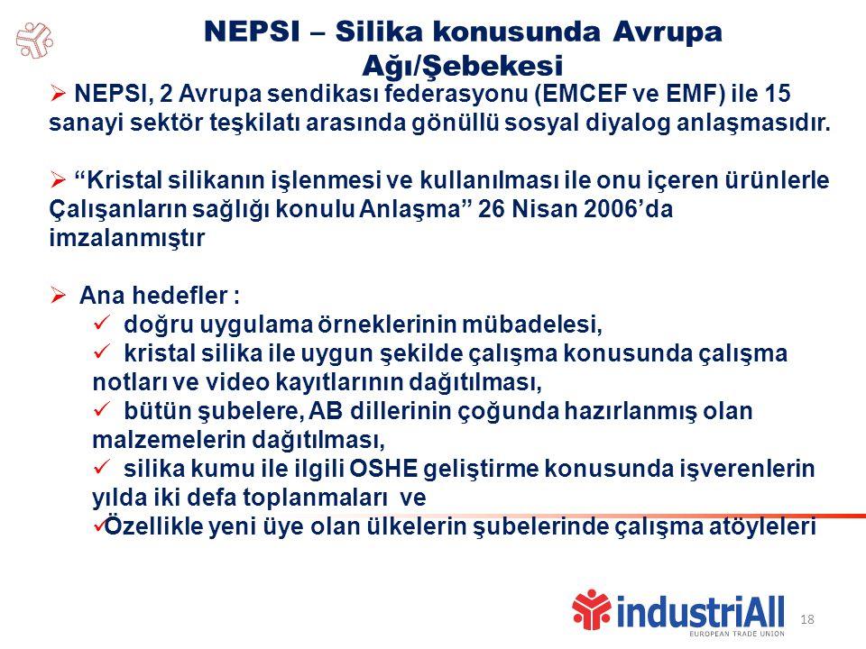 18 NEPSI – Silika konusunda Avrupa Ağı/Şebekesi  NEPSI, 2 Avrupa sendikası federasyonu (EMCEF ve EMF) ile 15 sanayi sektör teşkilatı arasında gönüllü sosyal diyalog anlaşmasıdır.