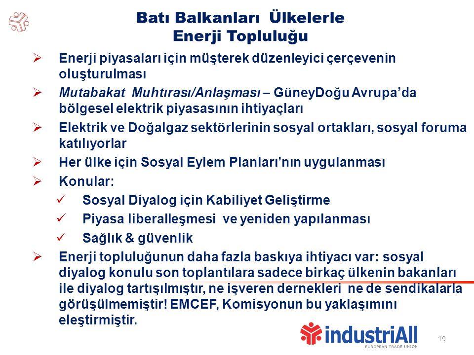 19 Batı Balkanları Ülkelerle Enerji Topluluğu  Enerji piyasaları için müşterek düzenleyici çerçevenin oluşturulması  Mutabakat Muhtırası/Anlaşması – GüneyDoğu Avrupa'da bölgesel elektrik piyasasının ihtiyaçları  Elektrik ve Doğalgaz sektörlerinin sosyal ortakları, sosyal foruma katılıyorlar  Her ülke için Sosyal Eylem Planları'nın uygulanması  Konular: Sosyal Diyalog için Kabiliyet Geliştirme Piyasa liberalleşmesi ve yeniden yapılanması Sağlık & güvenlik  Enerji topluluğunun daha fazla baskıya ihtiyacı var: sosyal diyalog konulu son toplantılara sadece birkaç ülkenin bakanları ile diyalog tartışılmıştır, ne işveren dernekleri ne de sendikalarla görüşülmemiştir.