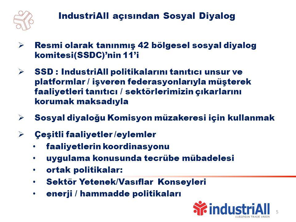 IndustriAll açısından Sosyal Diyalog 5  Resmi olarak tanınmış 42 bölgesel sosyal diyalog komitesi(SSDC)'nin 11'i  SSD : IndustriAll politikalarını tanıtıcı unsur ve platformlar / işveren federasyonlarıyla müşterek faaliyetleri tanıtıcı / sektörlerimizin çıkarlarını korumak maksadıyla  Sosyal diyaloğu Komisyon müzakeresi için kullanmak  Çeşitli faaliyetler /eylemler faaliyetlerin koordinasyonu uygulama konusunda tecrübe mübadelesi ortak politikalar: Sektör Yetenek/Vasıflar Konseyleri enerji / hammadde politikaları